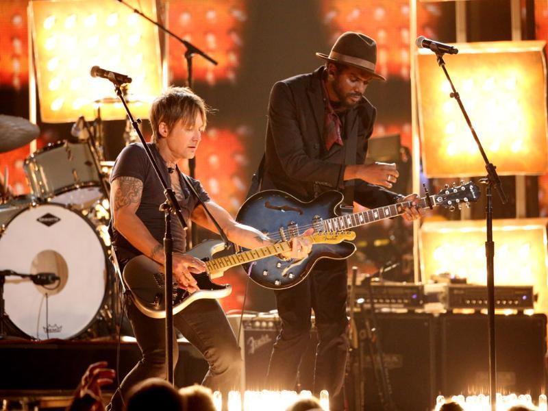 Keith Urban, left, and Gary Clark, Jr. perform Cop Car on stage at the 56th annual Grammy Awards at Staples Centre.
