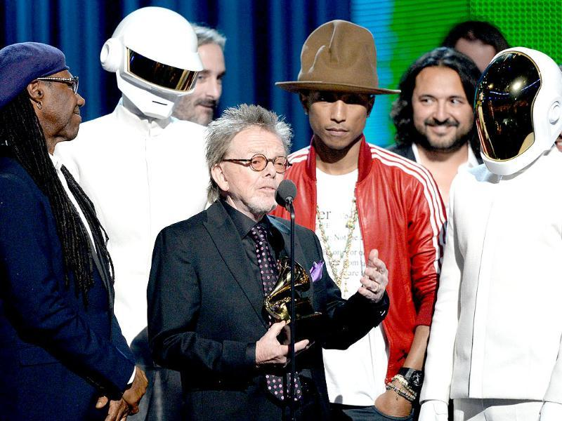 It was French recording duo Daft Punk's big night. Musicians Nile Rodgers, Thomas Bangalter of Daft Punk, Paul Williams, Pharrell Williams, and Guy-Manuel De Homem-Christo of Daft Punk accept the Album of the Year award. The duo won five awards in all.