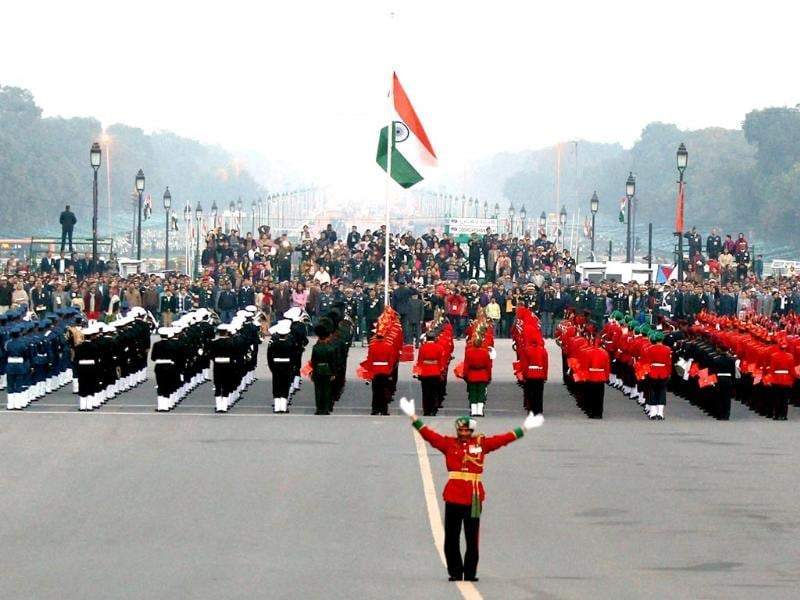 Services' bands perform during rehearsals for the Beating Retreat ceremony in New Delhi. (PTI photo)