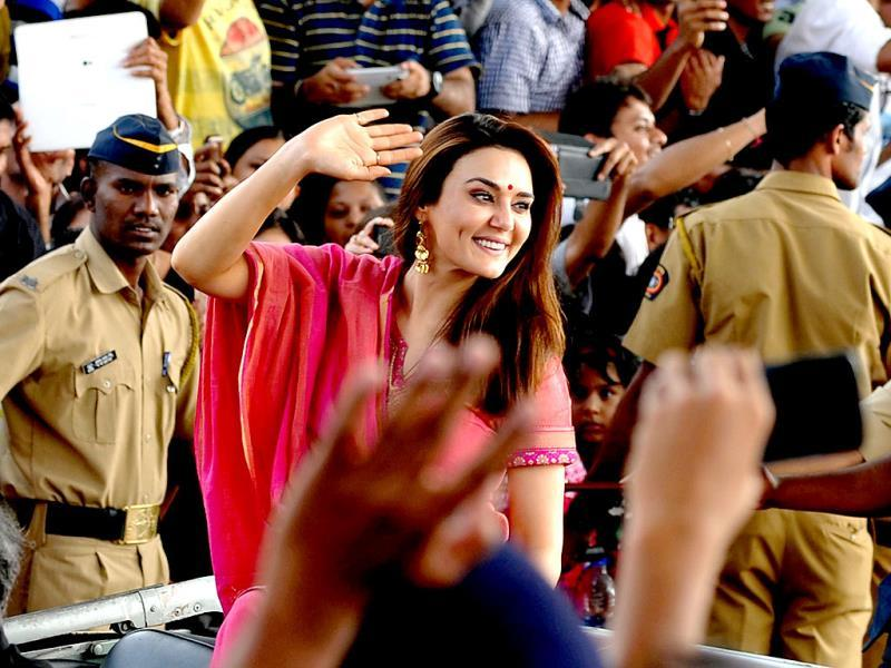 Preity Zinta attends 65th Republic Day celebrations in Mumbai. (AFP Photo)