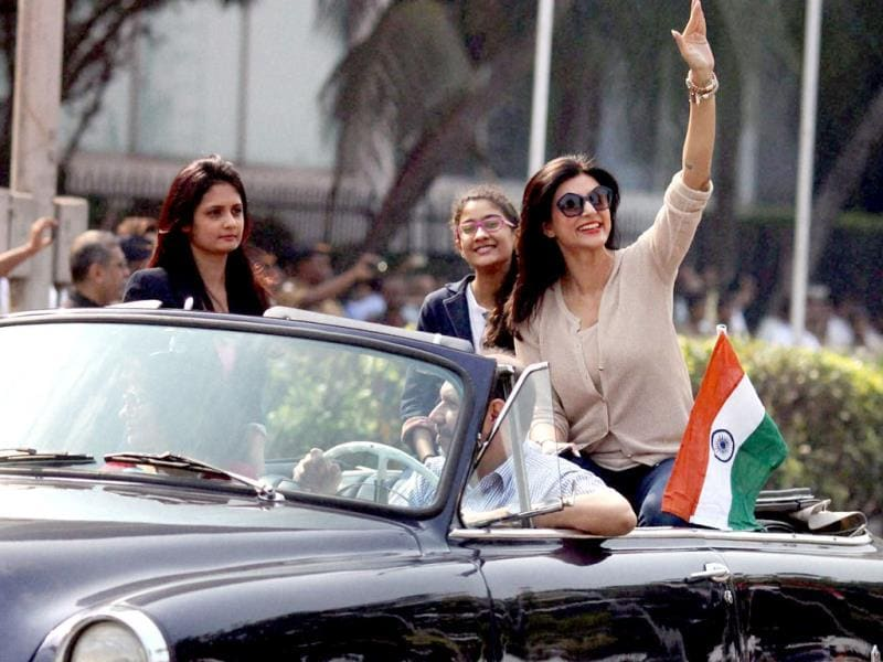 Sushmita Sen was also spotted at the 65th Republic Day parade in Mumbai. (PTI Photo)