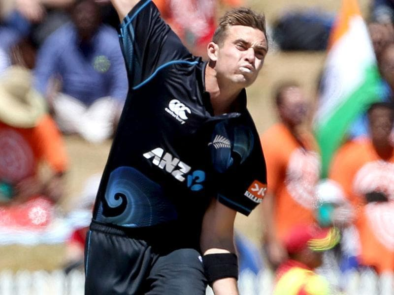 Tim Southee of New Zealand bowls during the fourth ODI against India at Seddon Park in Hamilton. (AFP Photo)