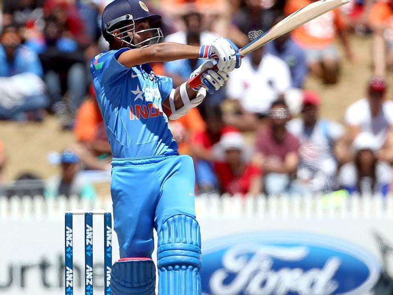 Ajinkya Rahane bats during the fourth ODI against New Zealand at Seddon Park in Hamilton. (AFP Photo)