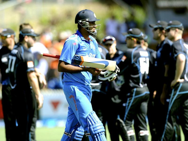 R Ashwin walks, dismissed for five against New Zealand during their fourth ODI at Seddon Park, in Hamilton. (AP Photo)