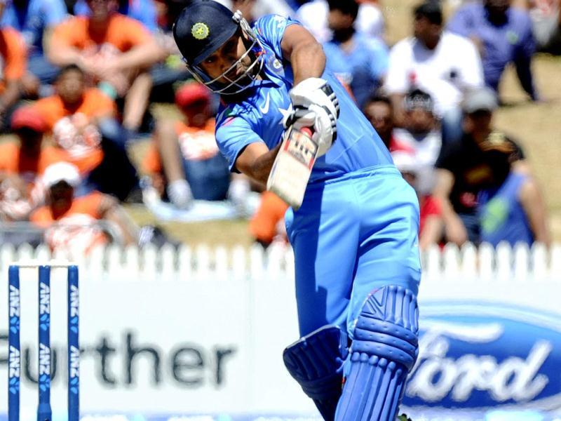 Rohit Sharma hits a six against New Zealand in the fourth ODI at Seddon Park in Hamilton. (AP Photo)