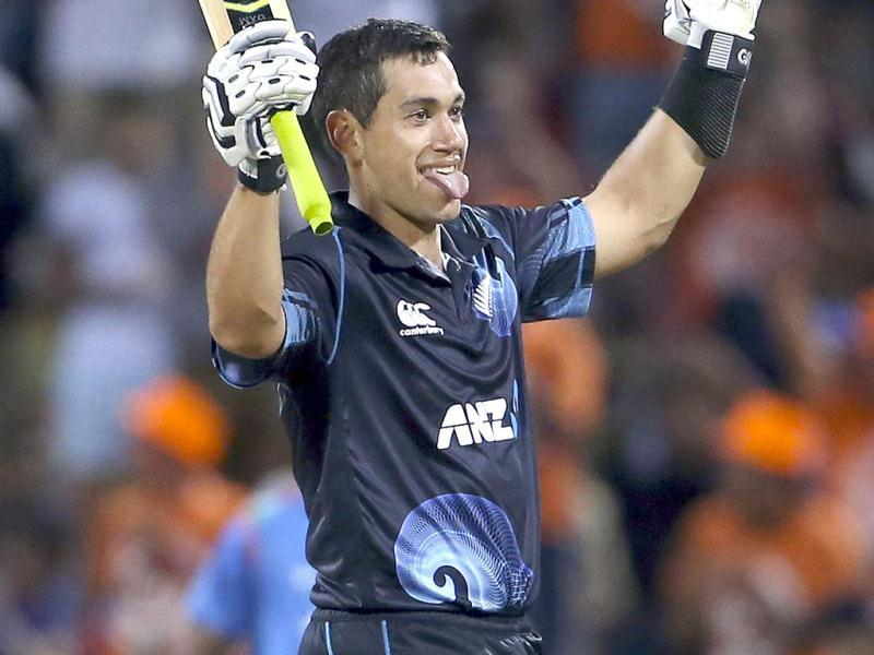 Ross Taylor celebrates his century in the fourth ODI against India at Seddon Park in Hamilton. (AP Photo)
