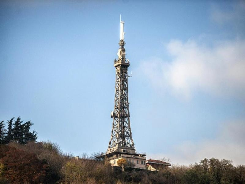 It is a picture of the Lyon metal tower located on the Fourviere hill. (AFP photo)