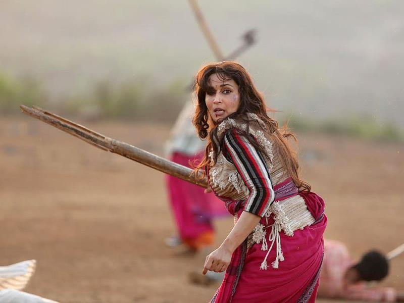 Madhuri Dixit in a still from the film Gulaab Gang.