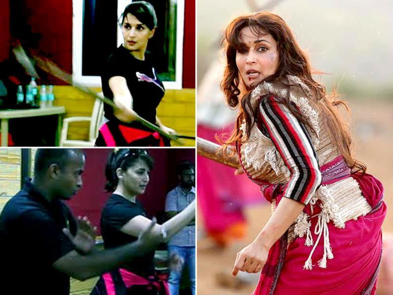 Madhuri Dixit transformed from a dancing diva to an action queen, only after undergoing a rigorous training. Check out the moments from her practice sessions.