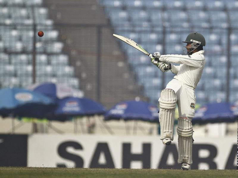 Bangladesh's Mominul Haque plays a shot on the fourth day of their first Test match against Sri Lanka in Dhaka, Bangladesh. (AP Photo)