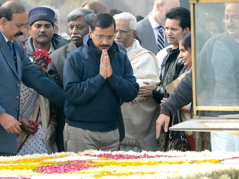 A file photo of Delhi chief minister and leader of the Aam Admi Party (AAP) Arvind Kejriwal as he pays homage at Rajghat, the memorial of India's founding father Mahatma Gandhi, on Martyrs' Day in New Delhi. AFP/Raveendran