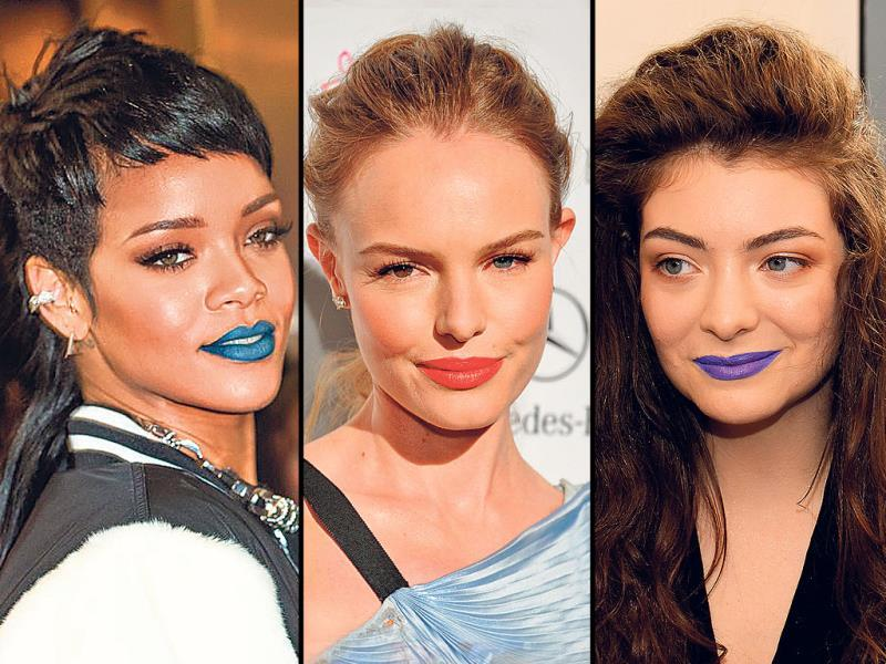 Wearing black, blue and pop lip colours seems to have become a hot trend lately. From ­electric blue to regal purple, and even pitch black or ­fluorescent yellow, the colour spectrum is very vibrant. Though singers Lady Gaga and Nicki Minaj have long been advocates of the eclectic lip colour trend, actors Kate Bosworth, Selena Gomez, ­singers Rihanna, Lorde and others have now joined the bandwagon. Go ahead, try on your favourite colour.