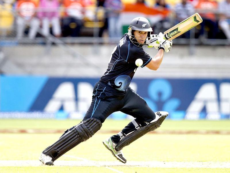 Ross Taylor of New Zealand bats during the fifth and final ODI against India in Wellington. (AFP Photo)