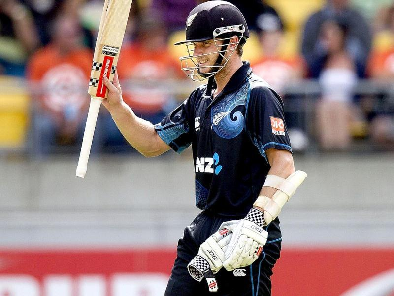Kane Williamson of New Zealand celebrates his 50 during the fifth and final ODI against India in Wellington. (AFP Photo)