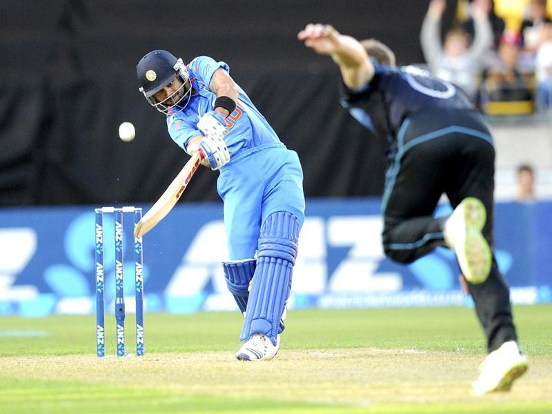 Ambati Rayudu bats against New Zealand's James Neesham in their fifth ODI in Wellington. (AP Photo)