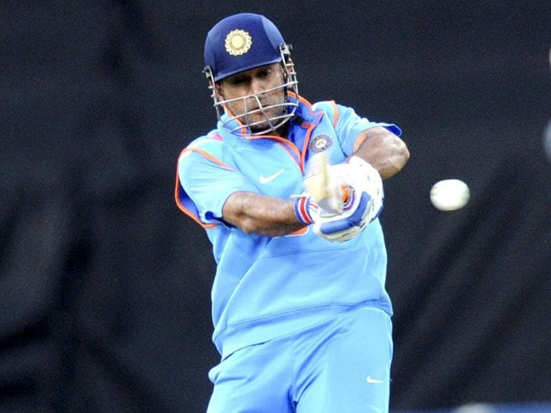 MS Dhoni bats against New Zealand in their fifth ODI in Wellington. (AP Photo)