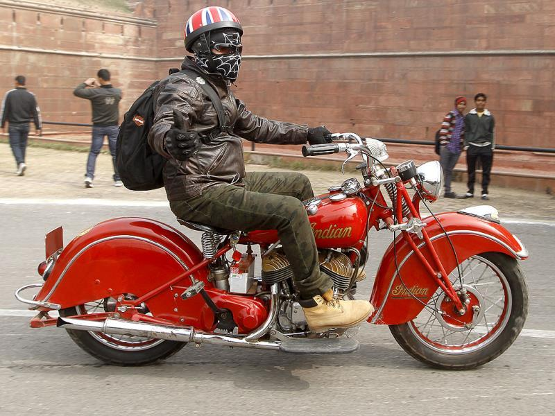 A vintage bike at the International Vintage Car Rally, in New Delhi, where over 135 vintage car and bikes rolled. (Sanjeev Verma/ HT Photo)