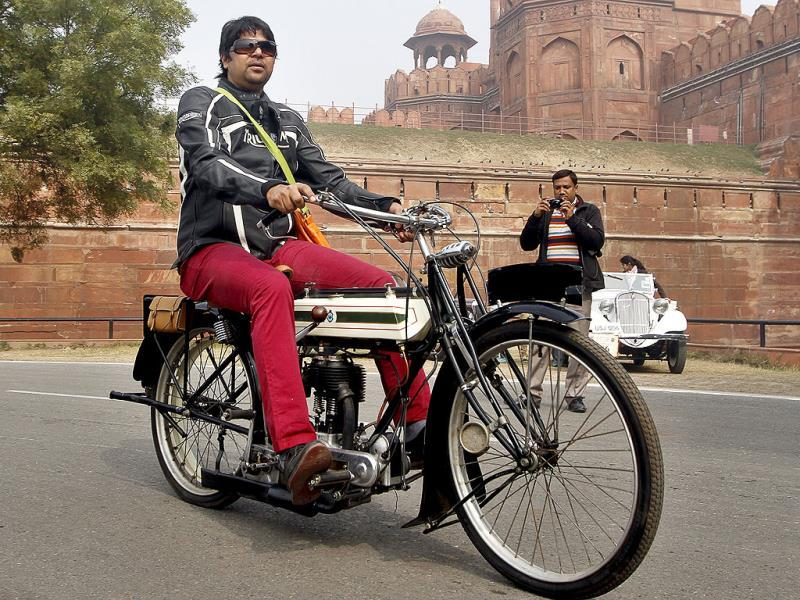 A vintage bike at Red Fort during the Gun Salute International Vintage Car Rally in New Delhi. (Sanjeev Verma/ HT Photo)