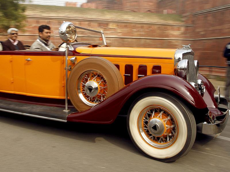 A scene from the International Vintage Car Rally in New Delhi. (Sanjeev Verma/ HT Photo)