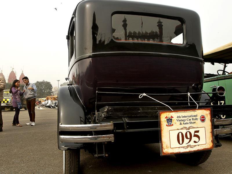 A vintage car at Red Fort during the International Vintage Car Rally in New Delhi. (Sanjeev Verma/ HT Photo)