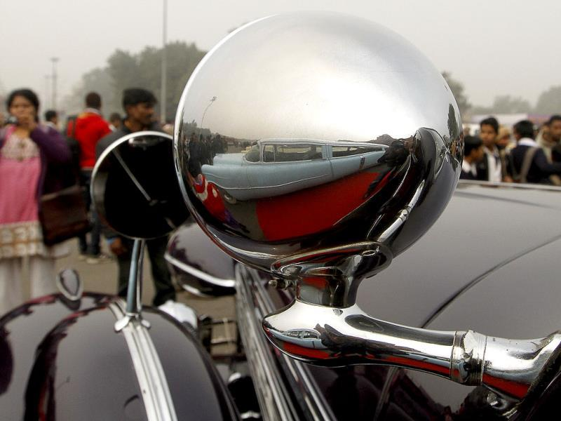 A vintage car at Red Fort during the Gun Salute International Vintage Car Rally in New Delhi. (Sanjeev Verma/ HT Photo)
