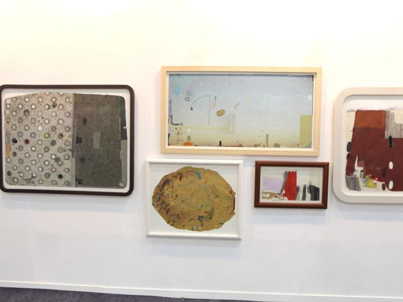 Artworks titled, Sky, Road, Over, Pebble and Greyed by artist Mekhala Bahl at Gallery Espace's booth.