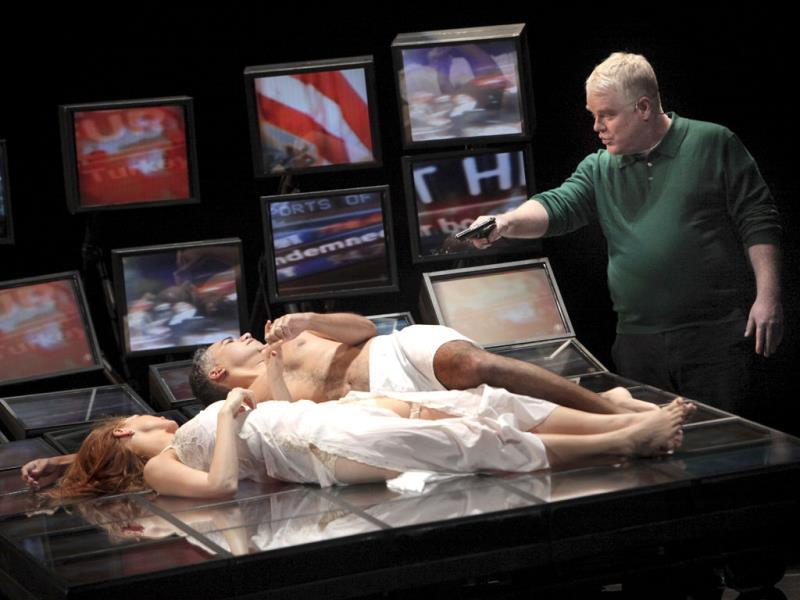 From left: Jessica Chastain, John Ortiz and Philip Seymour Hoffman in the play Othello at NYU Skirball Center for the Performing Arts in New York on Sept. 10, 2009.