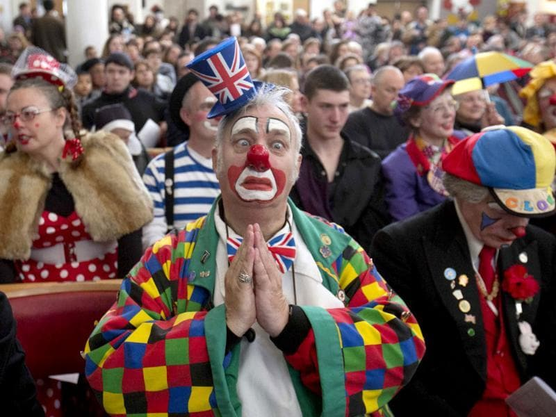 A clown poses during a church service in memory of Joseph Grimaldi at Holy Trinity Church in Dalston, east London. (Reuters photo)