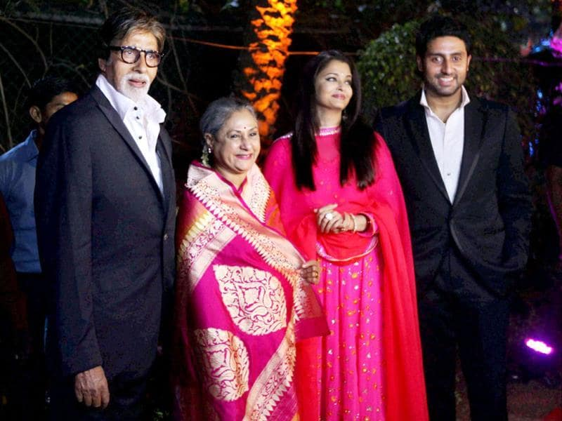 Amitabh Bachchan with Jaya Bachchan, Aishwarya Rai and Abhishek at the wedding ceremony of Hema Malini and Dharmendra's younger daughter Ahana Deol and Vaibhav Vora. (PTI Photo)