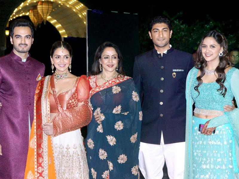 Hema Malini, Esha Deol with husband Bharat Takhtani, Ahana Deol with fiance Vaibhav Arora at the sangeet function of Ahana Deol in Mumbai on February 1, 2014. (PTI Photo)