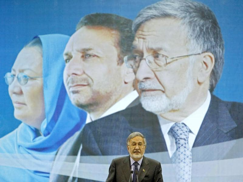 Afghan presidential candidate Zalmai Rassoul speaks during an election gathering in Kabul. (Reuters)