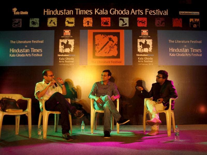 Soumya Bhattacharya, Sambit Bal and Plash Mehrotra during panel discussion on writing about cricket at the Kala Ghoda Arts Festival in Mumbai. (Kunal Patil/ HT Photo)