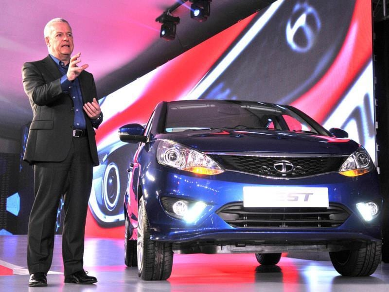 Tata Motors' head of research and development, Tim Leverton during launch of the company's two new cars - the sedan Zest and a premium hatchback, Bolt (not in pic), in New Delhi. (Photo by Mohd. Zakir/ Hindustan Times)
