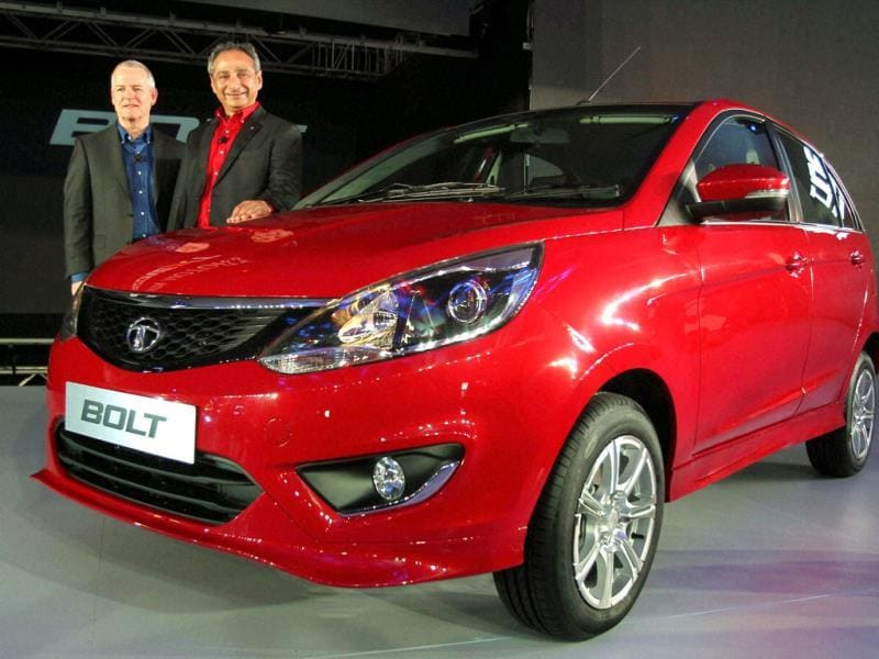Tim Leverton (L), chief of the advanced and product engineering department and Ranjit Yadav, president passenger vehicles at Tata Motors at the unveiling of their new car 'Bolt' in New Delhi. (PTI Photo)