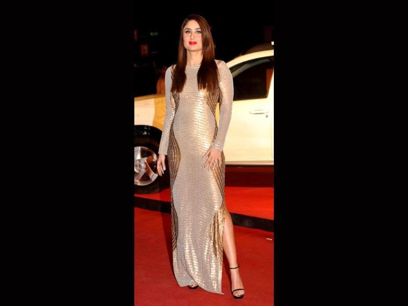 Silver and gold were a favourite with our Bollywood babes as they decked up for the award season. Kareena Kapoor Khan in a sequined gold-and-silver gown on the Red Carpet.