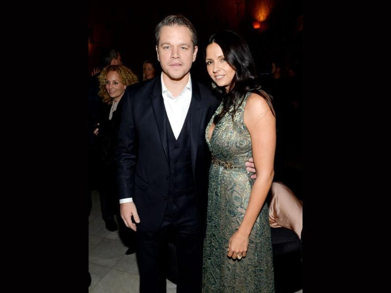 Actor Matt Damon and wife Luciana Barroso attend The Monuments Men premiere party in New York. The film will release in India on February 21.