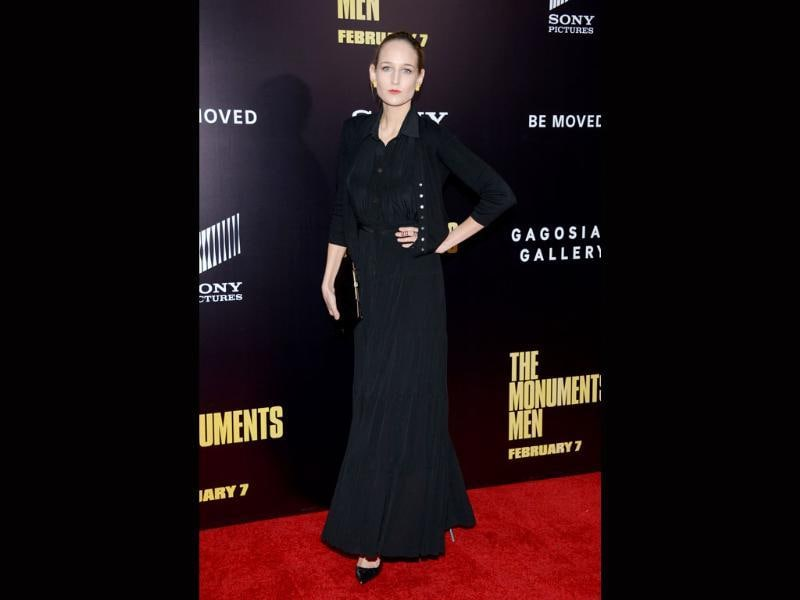 Actress Leelee Sobieski attends the premiere of The Monuments Men at the Ziegfeld Theatre on Tuesday.