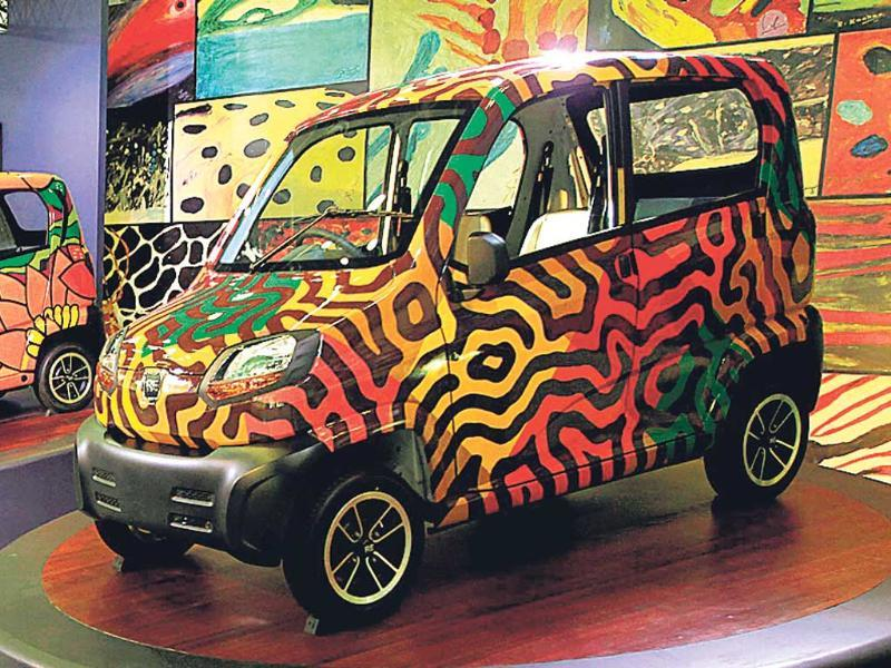 Bajaj concept car at the Auto Expo 2014 at Greater Noida. (Virendra Singh Gosain/HT)