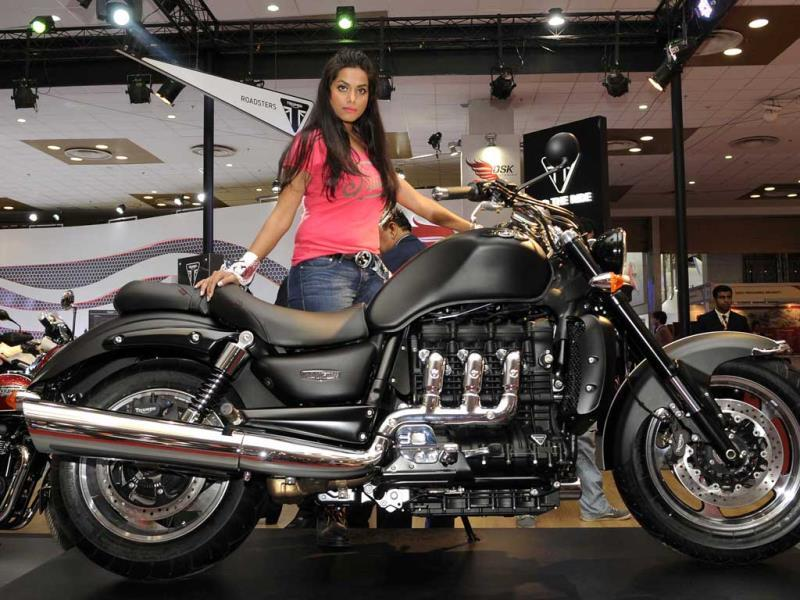 Triumph Motorcylces, the third global retro brand of motorcycles unveils its plans for the country at the Auto Expo in Greater Noida. (Burhaan Kinu/Hindustan Times)