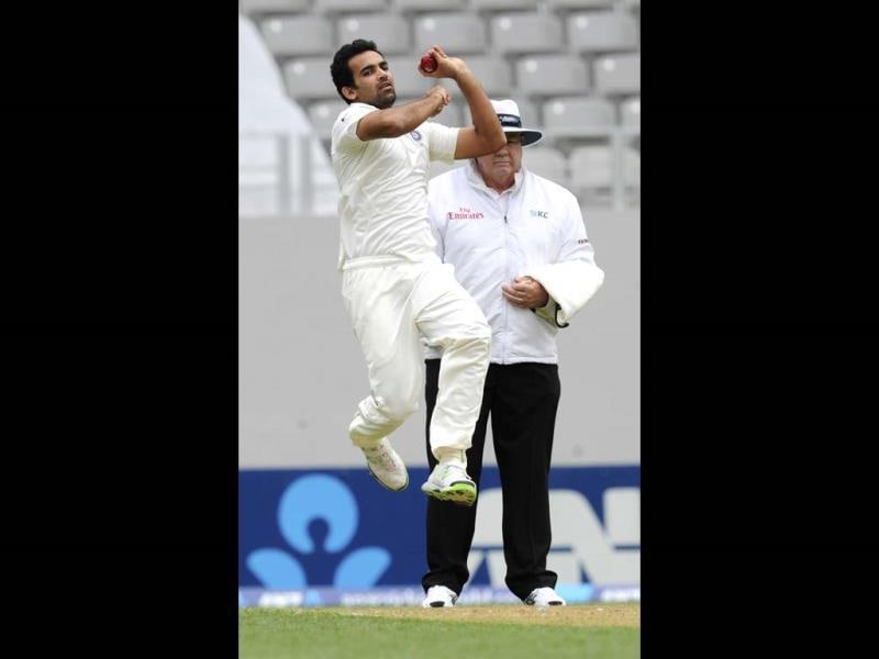 Zaheer Khan opens the bowling against New Zealand in the first Test at Eden Park in Auckland. (AP Photo)