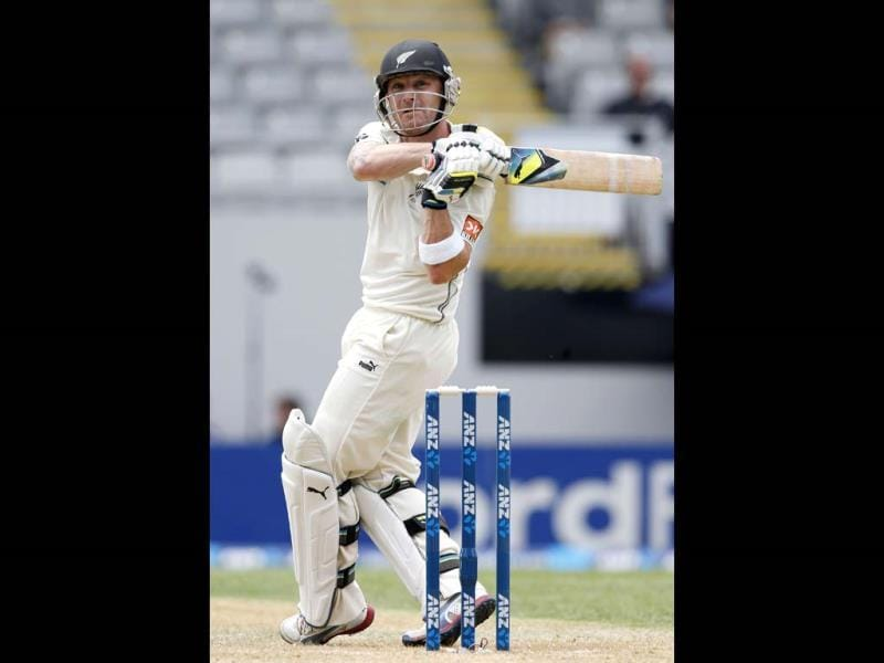 New Zealand's Brendon McCullum hits out on day one of the first Test against India at Eden Park in Auckland. (Reuters Photo)