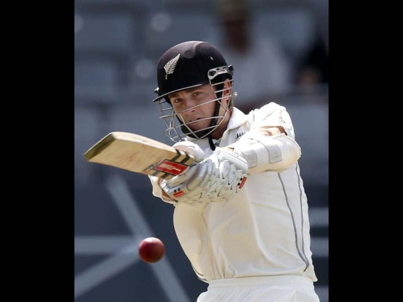 New Zealand's Kane Williamson hits out on day one of the first Test against India at Eden Park in Auckland. (Reuters Photo)