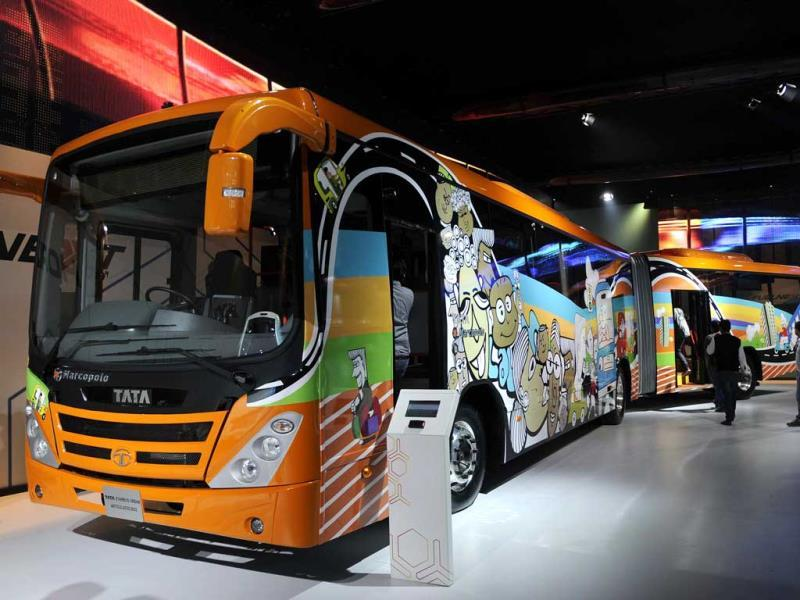 Tata Starbus Urban Articulated Bus, is displayed at the pavilion of Tata Motors (Burhaan Kinu/HT)