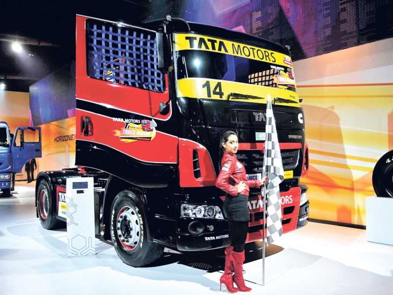 A model flanks truck T1 Prima at the pavilion of Tata Motors (Burhaan Kinu/HT)