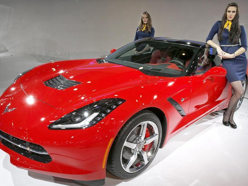 Mostly college girls, the models are afraid the 'cross-border' crowd will make life difficult for them. Chevrolet 2014 Corvette Stingray is displayed at the 12th Indian Auto Expo in Noida, on the outskirts of New Delhi. (AP Photo)