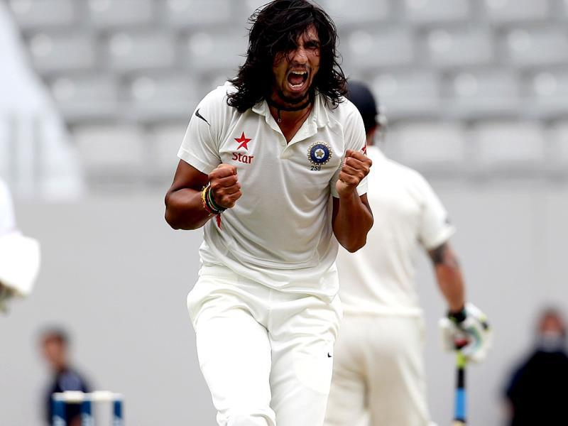 Ishant Sharma celebrates the wicket of Corey Anderson of New Zealand during day two of the first Test at Eden Park in Auckland. (AFP Photo)