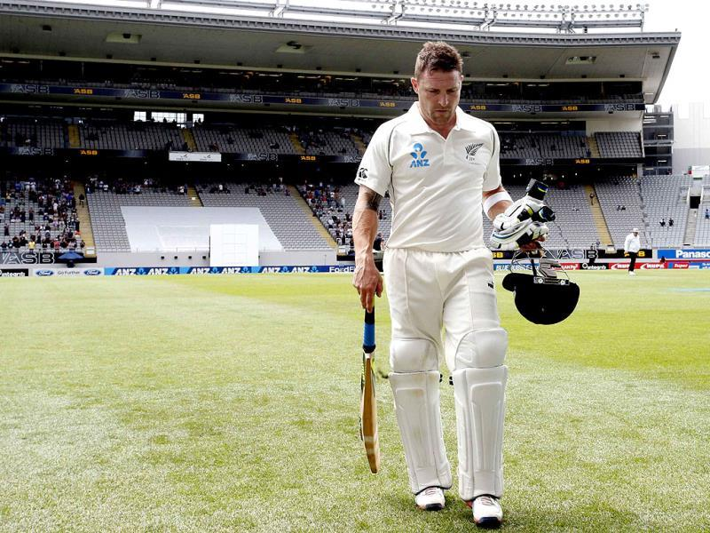 New Zealand's Brendon McCullum leaves the field after scoring 224 runs on day two of the first Test against India at Eden Park in Auckland. (Reuters Photo)