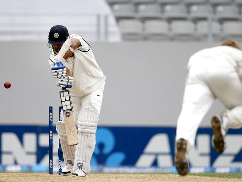 Murali Vijay is bowled out by New Zealand's Neil Wagner on day two of the first Test against New Zealand at Eden Park in Auckland. (Reuters Photo)
