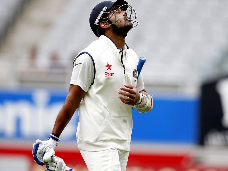 Murali Vijay reacts after being bowled out by New Zealand's Neil Wagner on day two of the first Test against New Zealand at Eden Park in Auckland. (Reuters Photo)