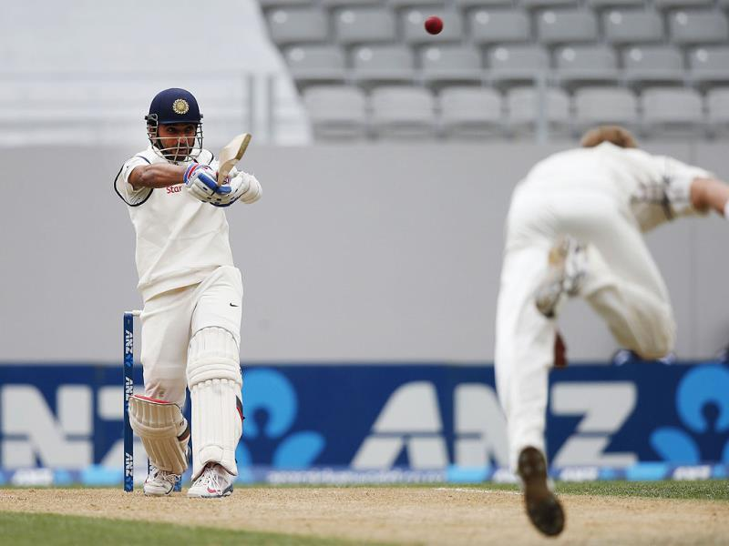 Ajinkya Rahane hits a ball from New Zealand's Neil Wagner on day two of the first Test against New Zealand at Eden Park in Auckland. (Reuters Photo)